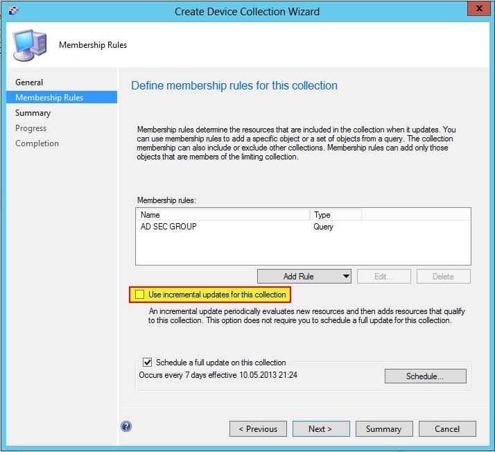 SCCM 2012 SP1 Device Collection Wizard