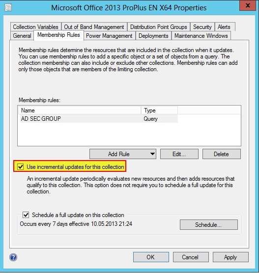 SCCM 2012 SP1 Incremental Update activated